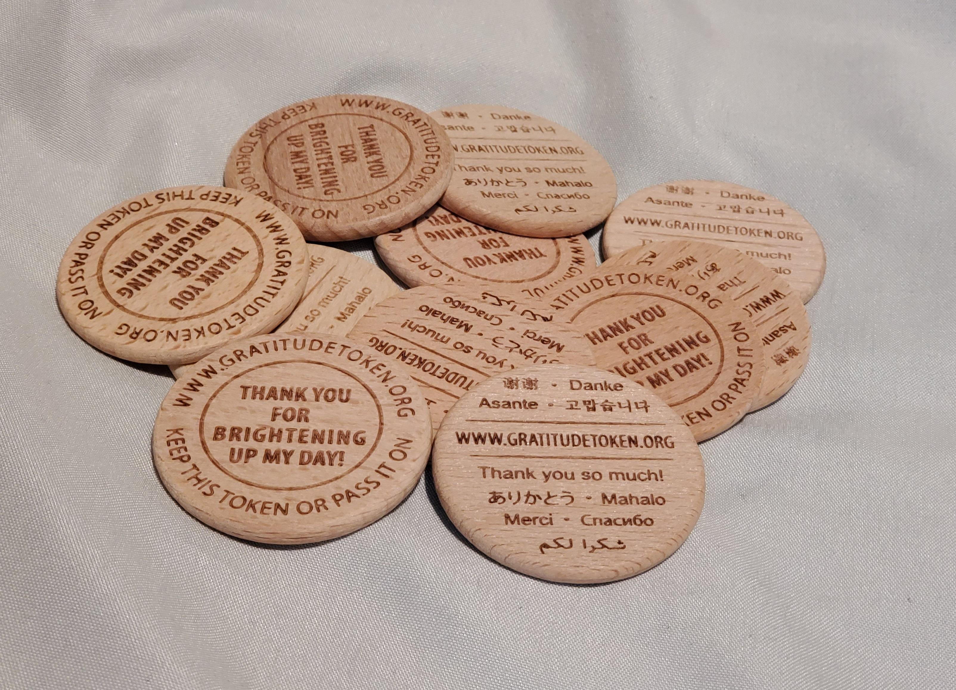 11 Wooden Gratitude Token Coins